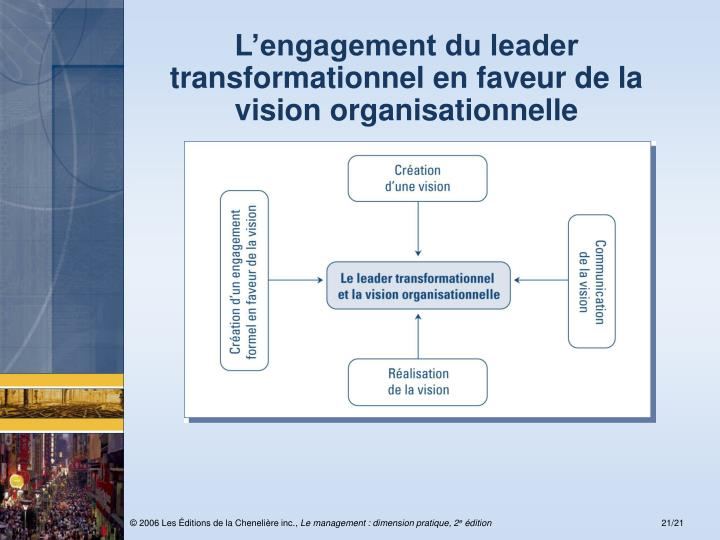 L'engagement du leader transformationnel en faveur de la vision organisationnelle