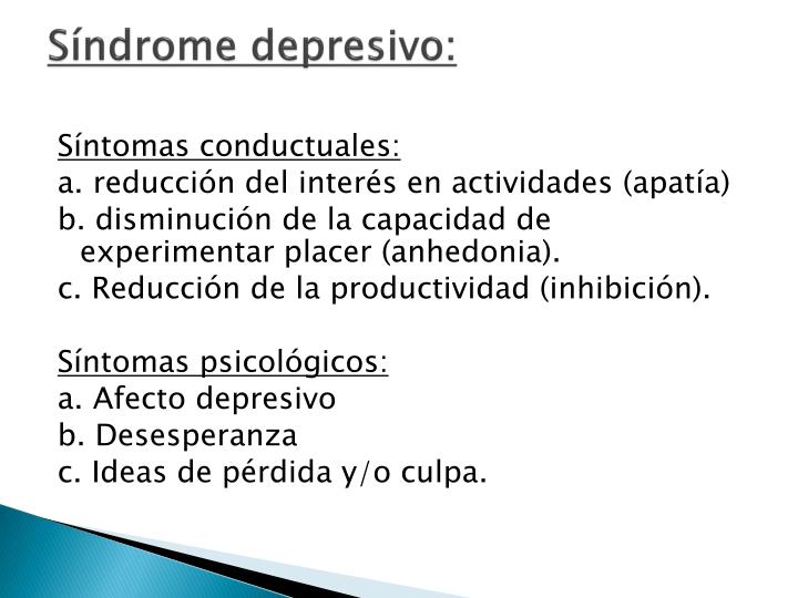 Síndrome depresivo: