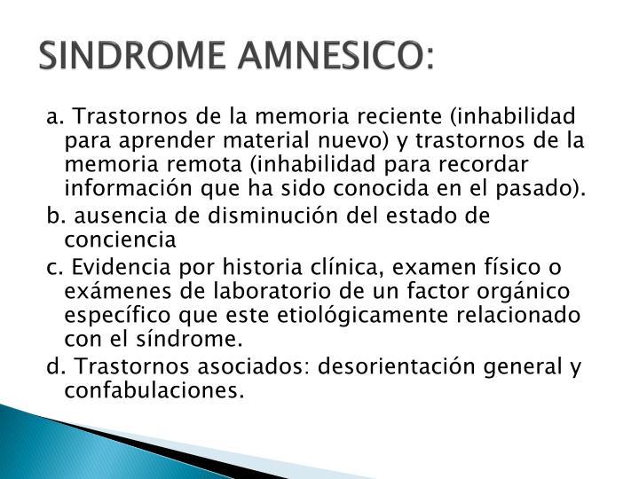 SINDROME AMNESICO: