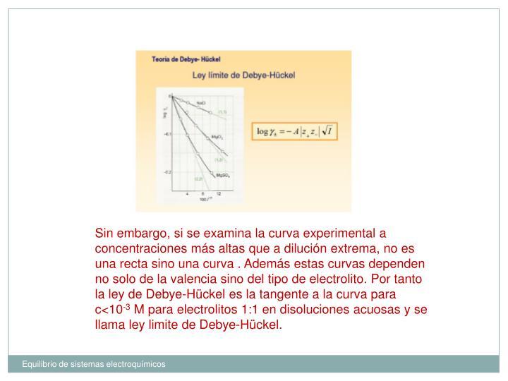 Sin embargo, si se examina la curva experimental a concentraciones más altas que a dilución extrema, no es una recta sino una curva . Además estas curvas dependen no solo de la valencia sino del tipo de electrolito. Por tanto la ley de Debye-Hückel es la tangente a la curva para c<10
