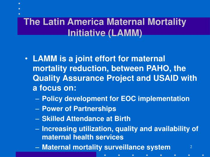 The Latin America Maternal Mortality Initiative (LAMM)