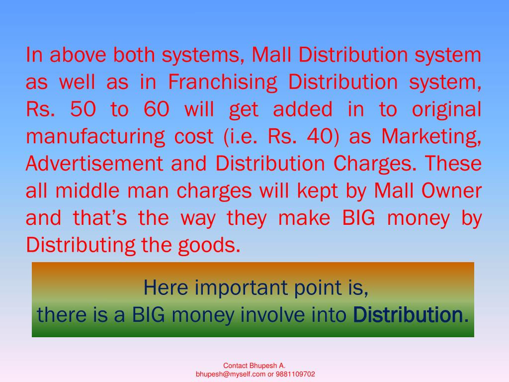 In above both systems, Mall Distribution system as well as in Franchising Distribution system, Rs. 50 to 60 will get added in to original manufacturing cost (i.e. Rs. 40) as Marketing, Advertisement and Distribution Charges. These all middle man charges will kept by Mall Owner and that's the way they make BIG money by Distributing the goods.