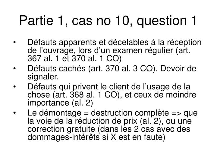 Partie 1, cas no 10, question 1