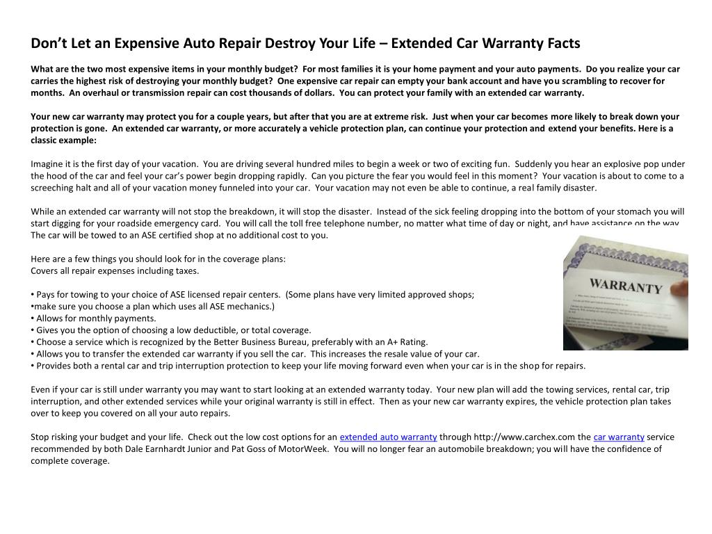 Don't Let an Expensive Auto Repair Destroy Your Life – Extended Car Warranty Facts