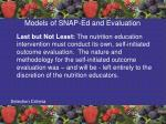 models of snap ed and evaluation3