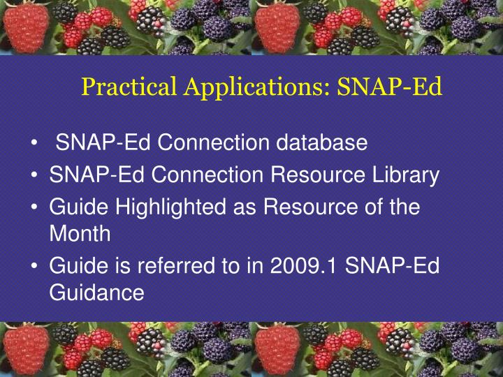 Practical Applications: SNAP-Ed