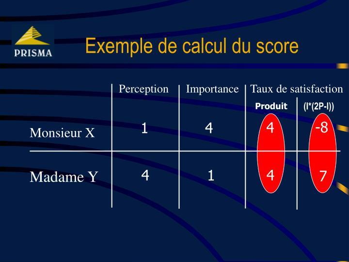 Exemple de calcul du score
