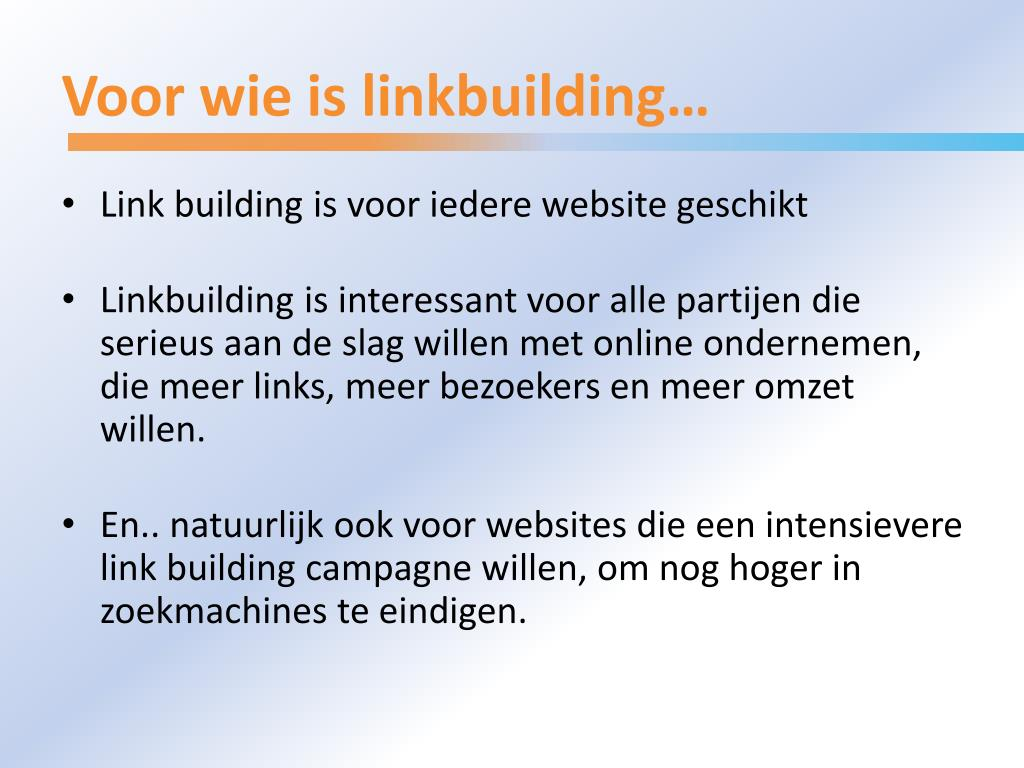 Voor wie is linkbuilding…