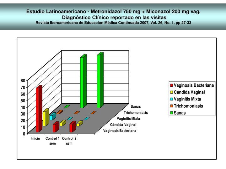Estudio Latinoamericano - Metronidazol 750 mg + Miconazol 200 mg vag.