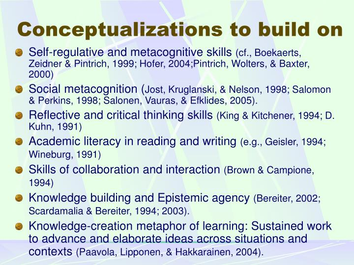 Conceptualizations to build on