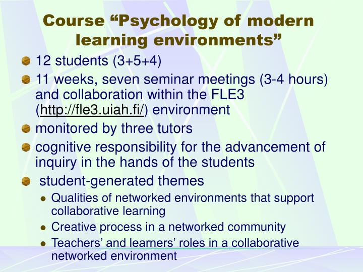 "Course ""Psychology of modern learning environments"""