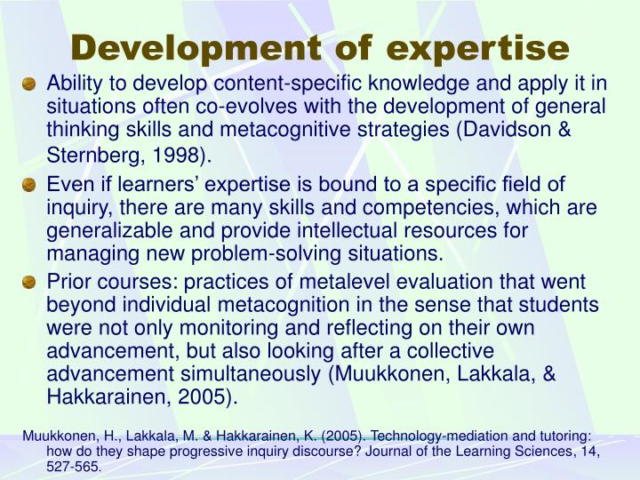Development of expertise