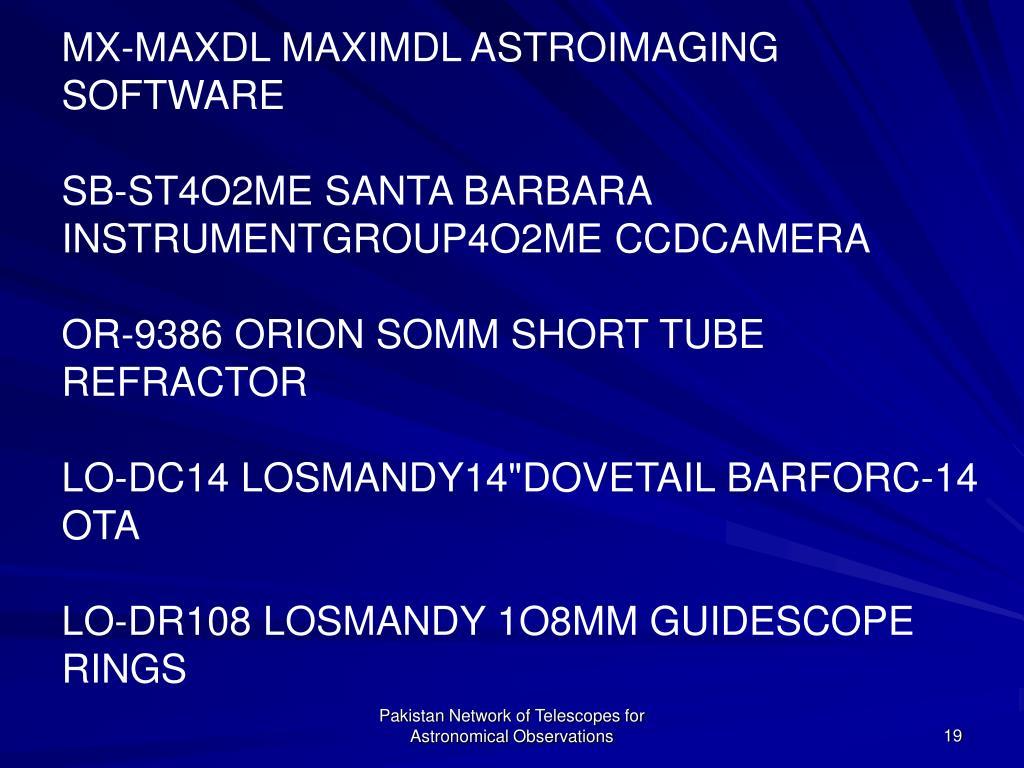 MX-MAXDL MAXIMDL ASTROIMAGING SOFTWARE