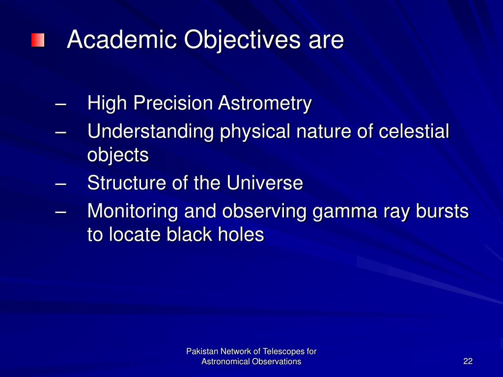 Academic Objectives are