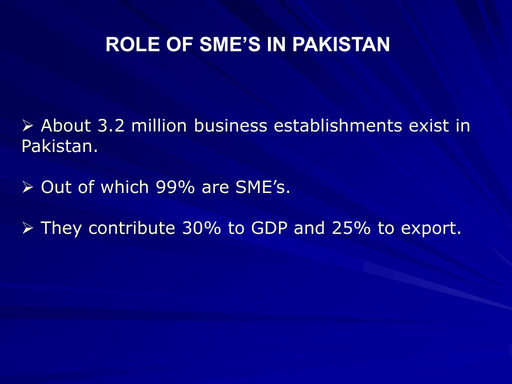 ROLE OF SME'S IN PAKISTAN
