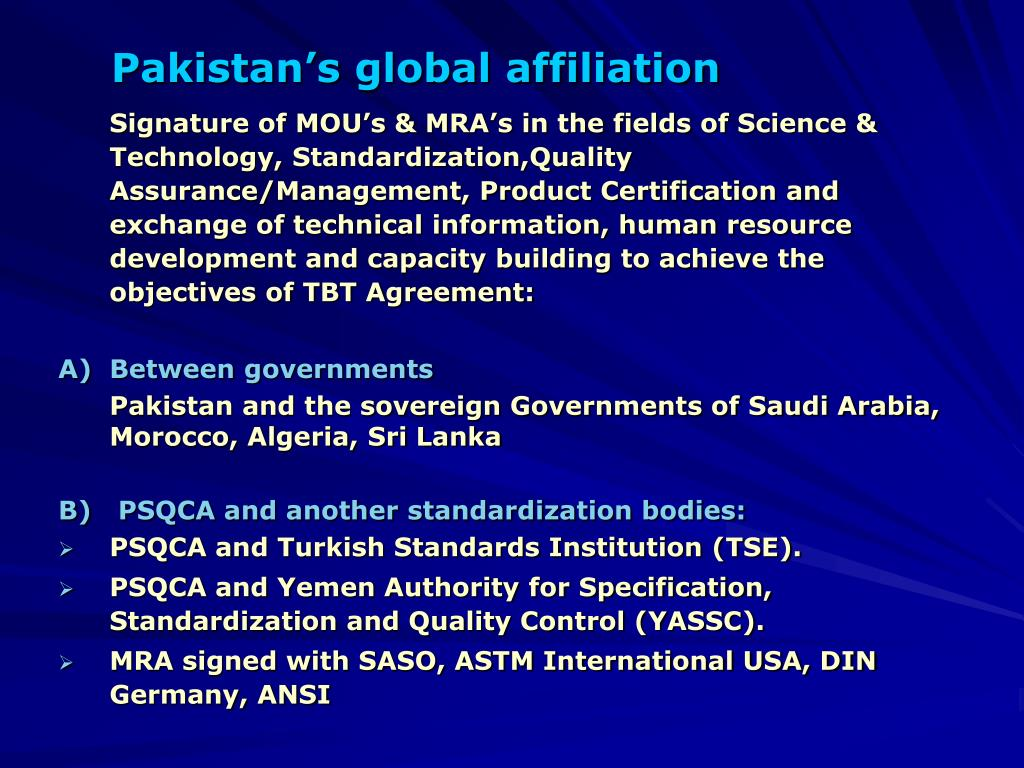 Pakistan's global affiliation