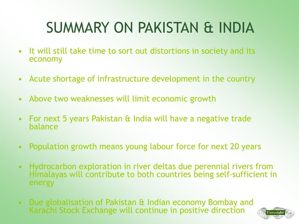 SUMMARY ON PAKISTAN & INDIA