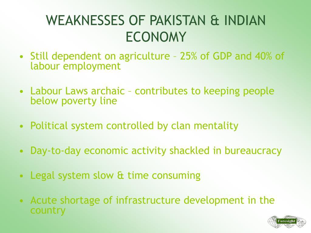 WEAKNESSES OF PAKISTAN & INDIAN ECONOMY