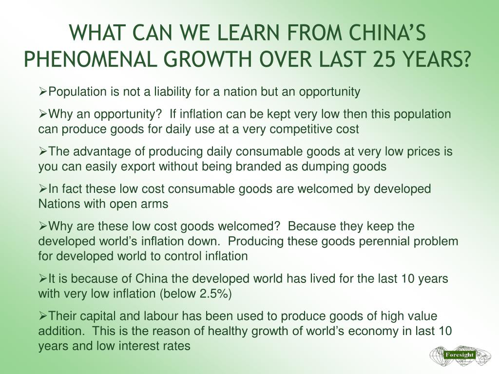 WHAT CAN WE LEARN FROM CHINA'S PHENOMENAL GROWTH OVER LAST 25 YEARS?