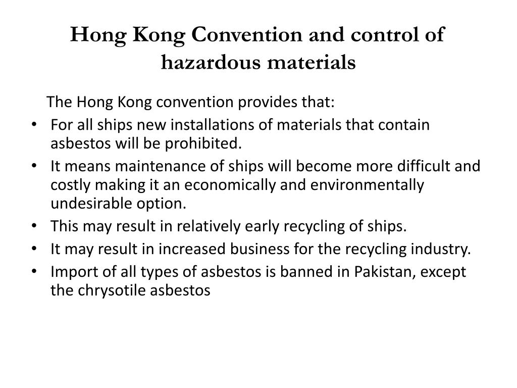 Hong Kong Convention and control of hazardous materials
