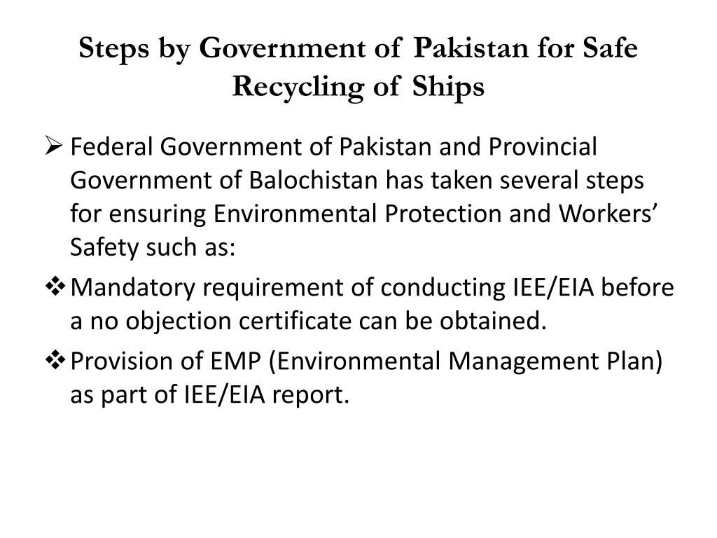 Steps by Government of Pakistan for Safe Recycling of Ships