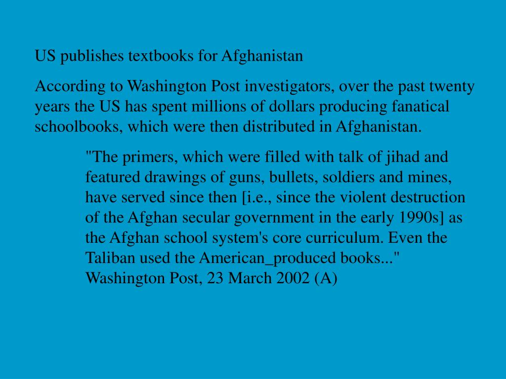 US publishes textbooks for Afghanistan