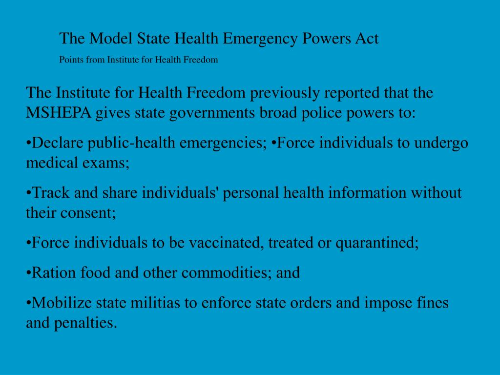 The Model State Health Emergency Powers Act