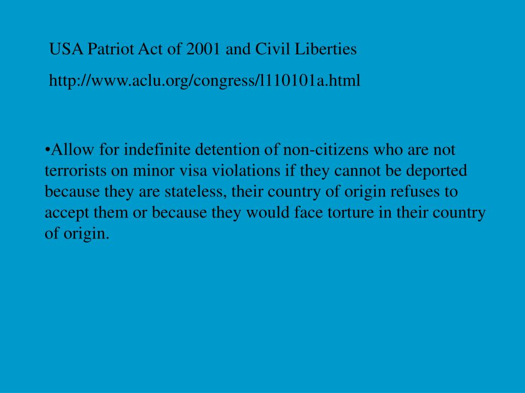 USA Patriot Act of 2001 and Civil Liberties