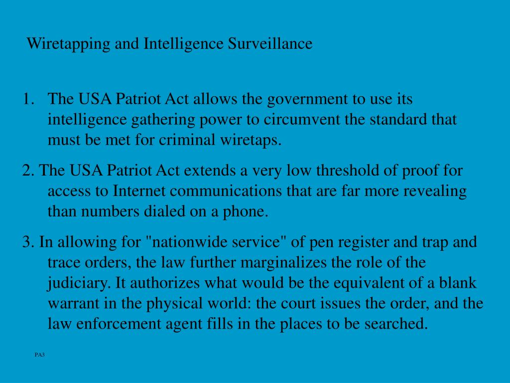 Wiretapping and Intelligence Surveillance