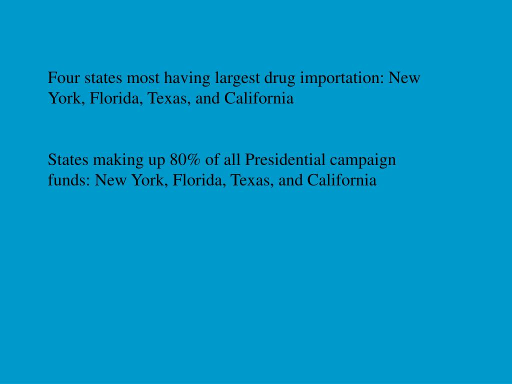 Four states most having largest drug importation: New York, Florida, Texas, and California