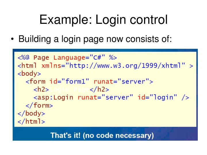 Example: Login control
