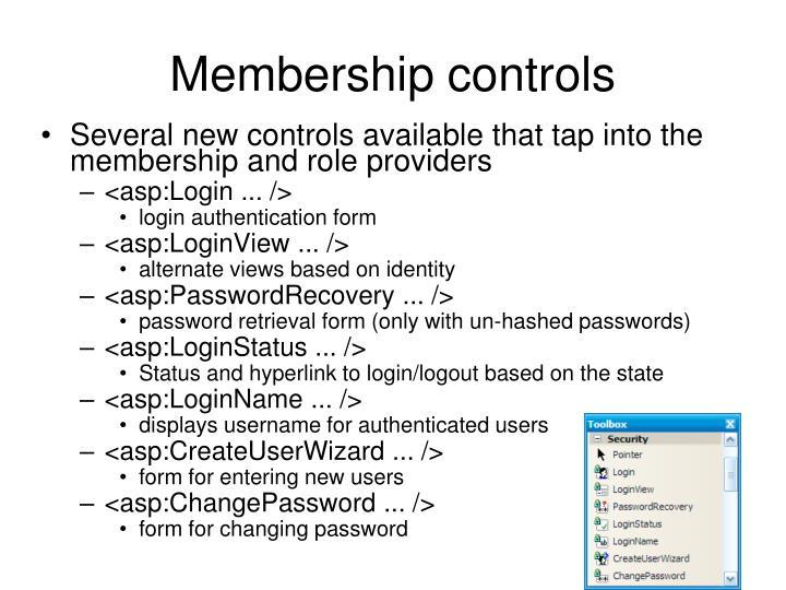Membership controls
