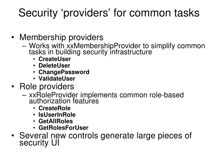 Security 'providers' for common tasks