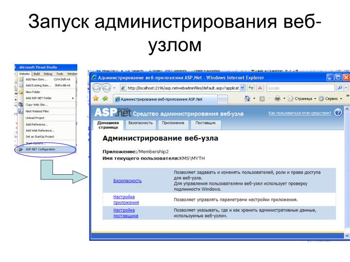 Запуск администрирования веб-узлом