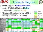 losses to regions