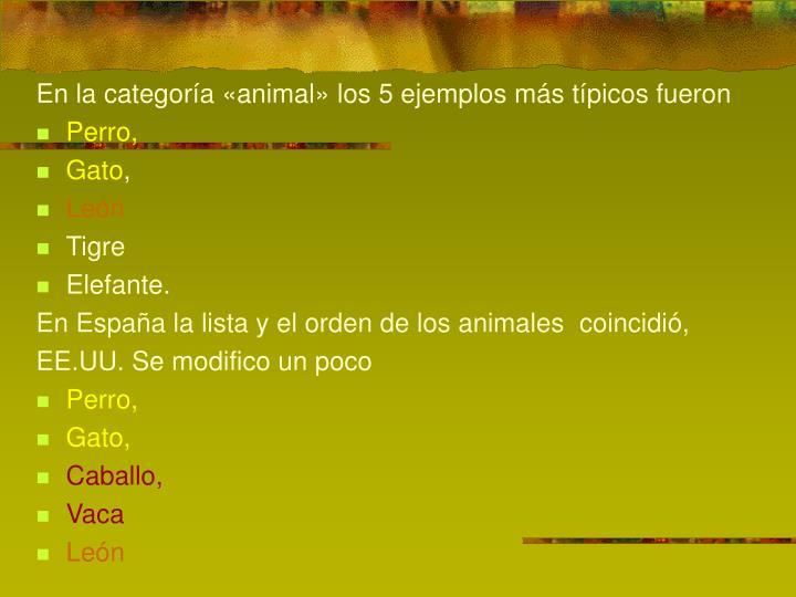 En la categoría «animal» los 5 ejemplos más típicos fueron