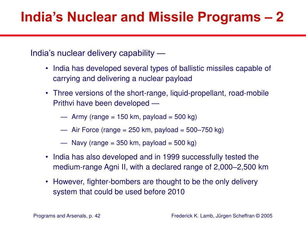 India's Nuclear and Missile Programs – 2