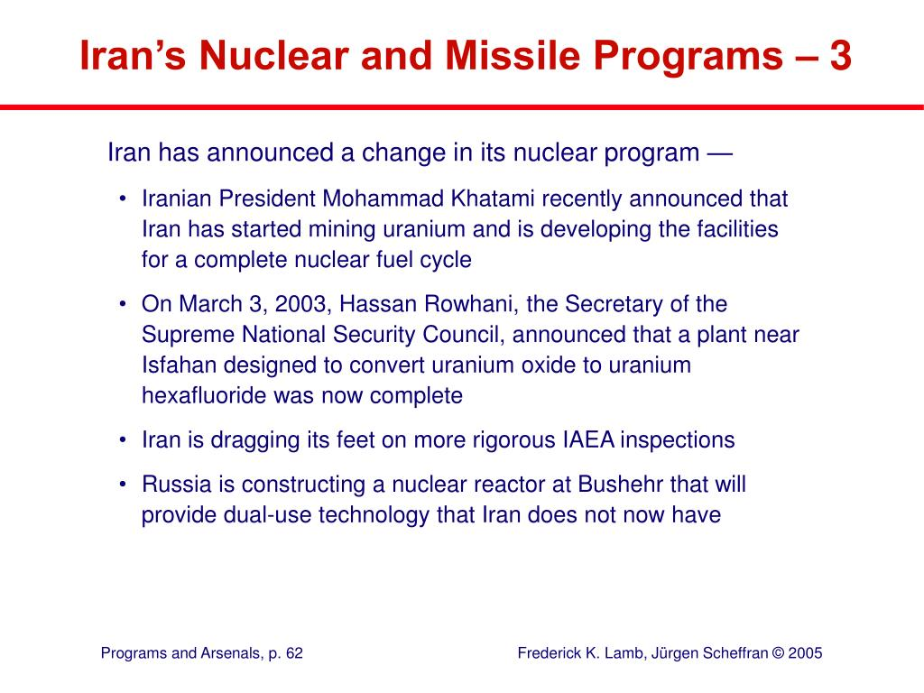 Iran's Nuclear and Missile Programs – 3