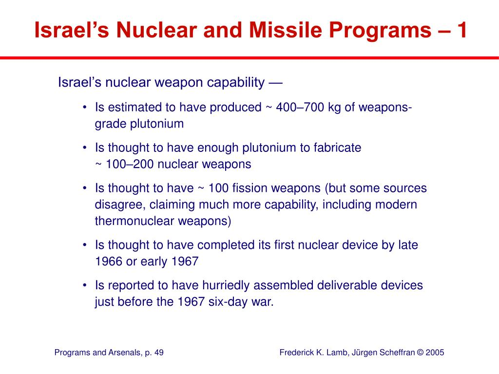 Israel's Nuclear and Missile Programs – 1