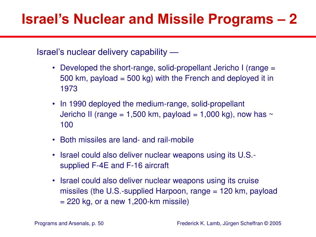 Israel's Nuclear and Missile Programs – 2