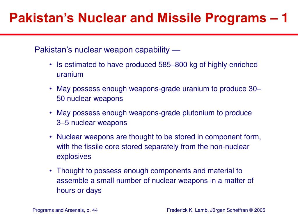 Pakistan's Nuclear and Missile Programs – 1