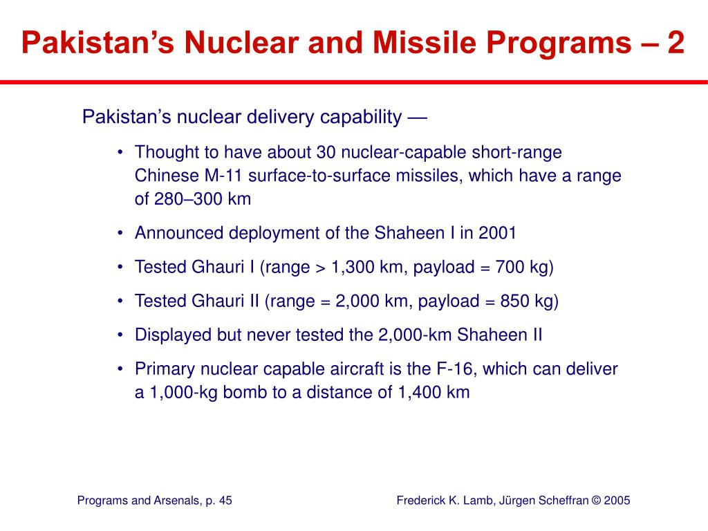 Pakistan's Nuclear and Missile Programs – 2