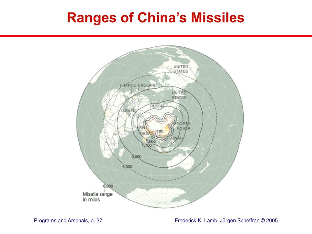 Ranges of China's Missiles
