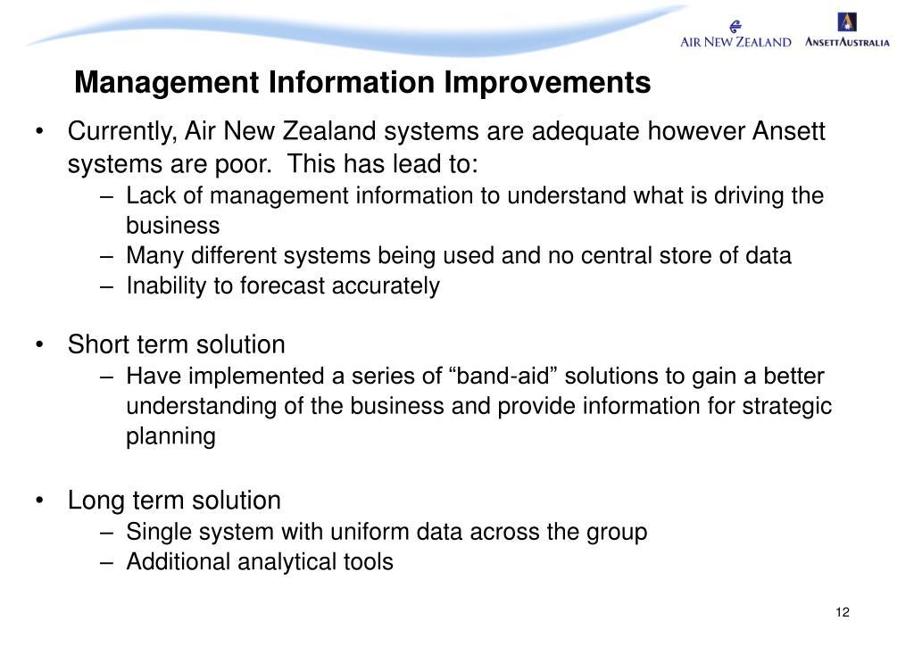 Management Information Improvements