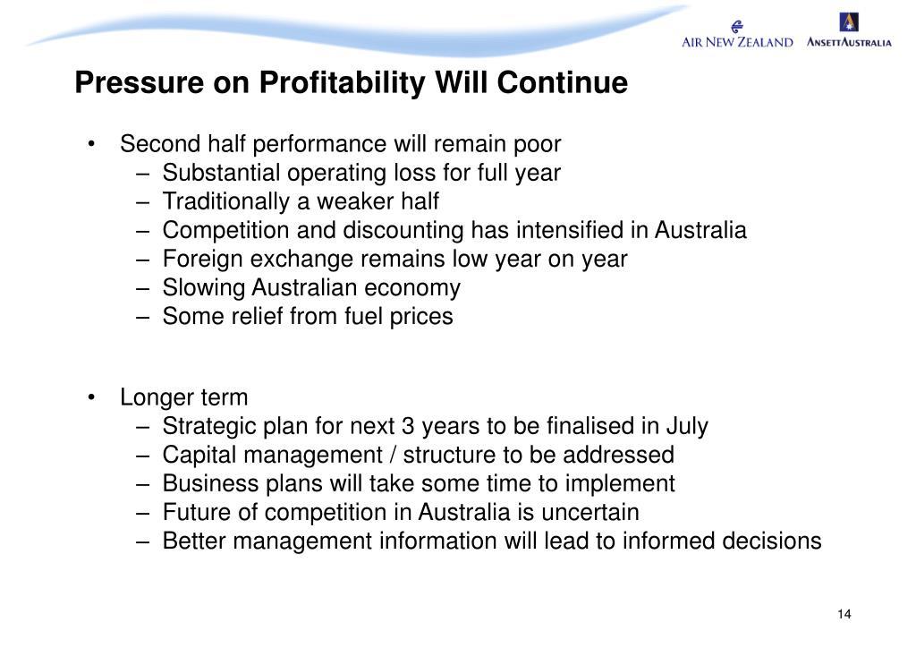 Pressure on Profitability Will Continue