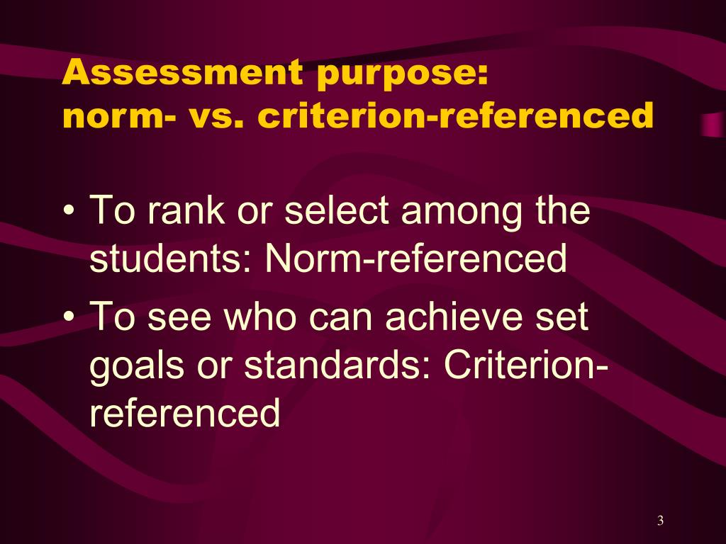 Assessment purpose: