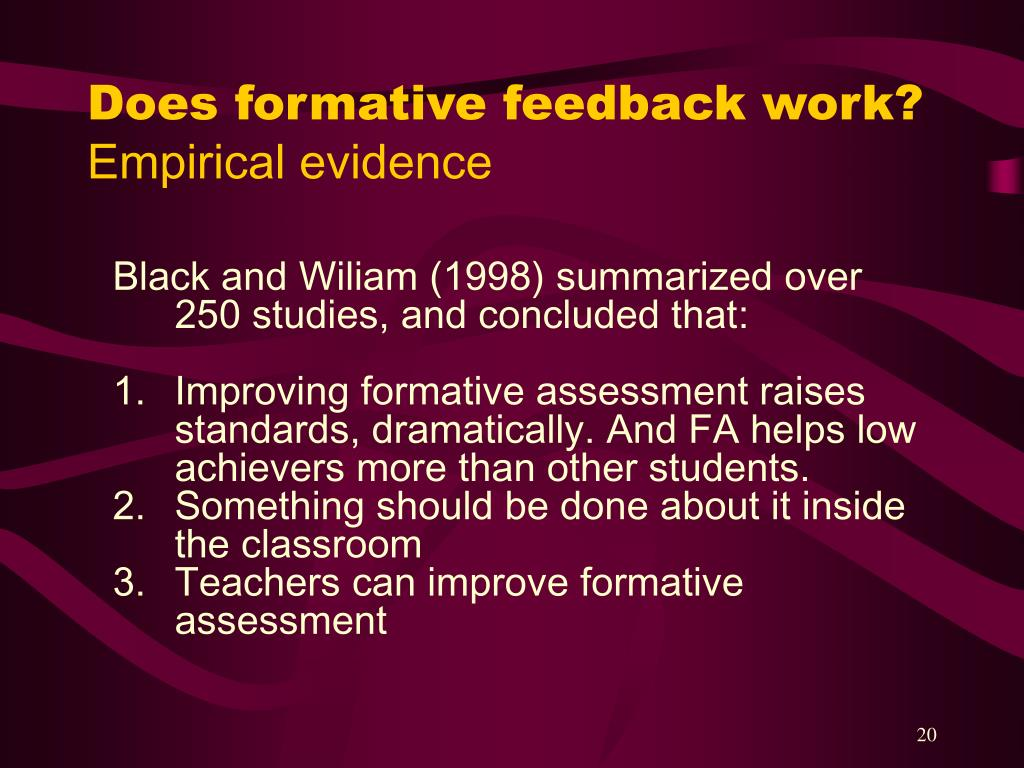 Does formative feedback work?