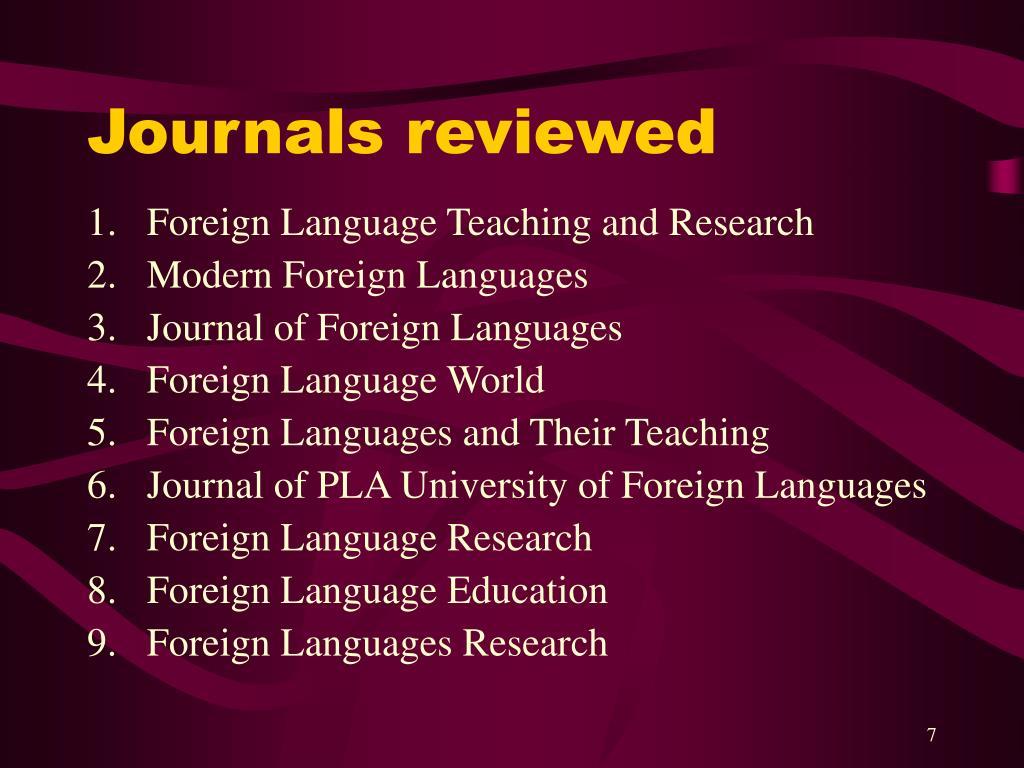 Journals reviewed