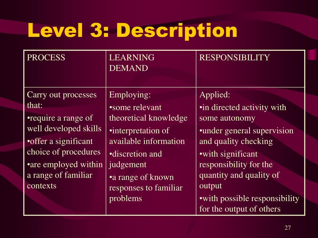 Level 3: Description