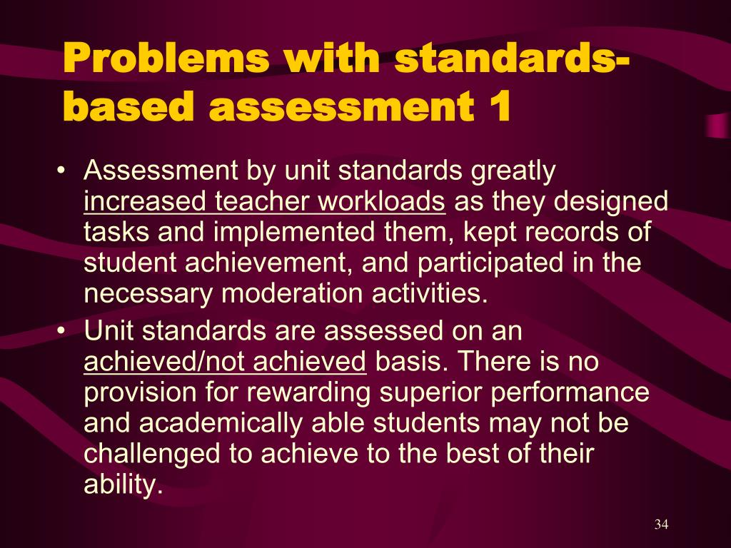 Problems with standards-based assessment 1